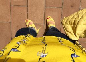 yellow outfit fenicottero