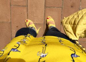 yellow outfit fenicottero